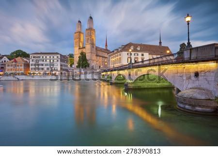 Zurich. Image of Zurich, capital of Switzerland, during dramatic sunset. - stock photo