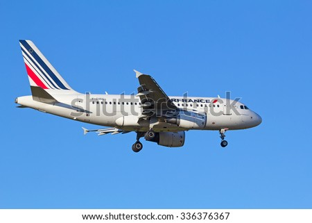 ZURICH - JULY 18: Air France A-318 landing in Zurich airport after short haul flight on July 18, 2015 in Zurich, Switzerland. Zurich airport is home port for Swiss Air and one of the european hubs. - stock photo