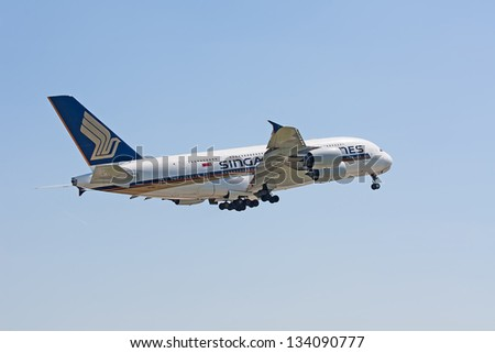 ZURICH - MAY 24:Singapore Airlines Airbus A380 taking off on May 24, 2010 in Zurich, Switzerland. Zurich International Airport is one of the major Europian Hub and home port of Swiss airline. - stock photo