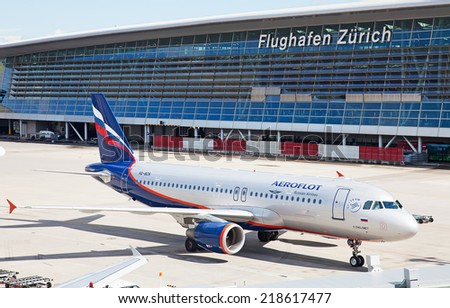 ZURICH - SEPTEMBER 21:Russian airline Aeroflot taxing after landing on September 21, 2014 in Zurich, Switzerland. Zurich Airport is one of the major Europian Hub and home port of Swiss airline. - stock photo