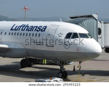 ZURICH, SWITZERLAND - CIRCA SEPTEMBER 2013: Lufthansa Airbus A319-100 aircraft parked at the airport - stock photo