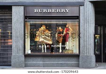 ZURICH, SWITZERLAND - DECEMBER 29, 2013 - Burberry shop, a British luxury fashion house, distributing clothing and fashion accessories and licensing fragrances - stock photo