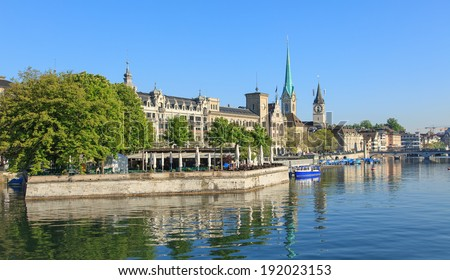 Zurich, Switzerland - view on the Limmat river in morning - stock photo