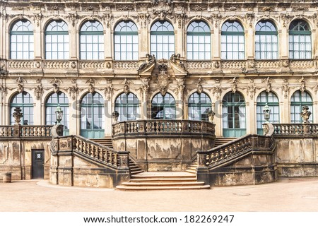 Zwinger is a palace in Dresden, eastern Germany, built in Rococo style in 17th century. Designed by court architect Matthaus Daniel Poppelmann. Details of French Pavilion (Franzosischer Pavillon). - stock photo