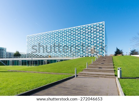 ZWOLLE, NETHERLANDS - NOVEMBER 1, 2014: Exterior of a modern school building. In 2011, the X-building was chosen as Building of the Year in the eastern Netherlands. - stock photo