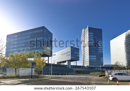 ZWOLLE, NETHERLANDS - NOVEMBER 1, 2014: Modern office buildings as part of a small business park. Zwolle is the capital of the dutch province Overijssel - stock photo