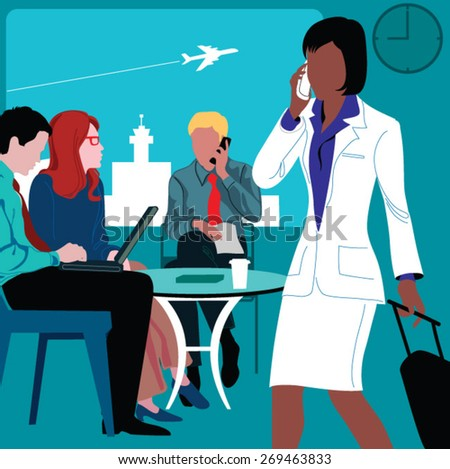 .A business woman traveling in an airport. - stock vector