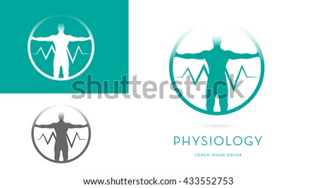 A MAN SILHOUETTE WITH OPEN ARMS INCORPORATED WITH A HEARTBEAT SYMBOL INSIDE A CIRCLE, VECTOR ICON / LOGO  - stock vector