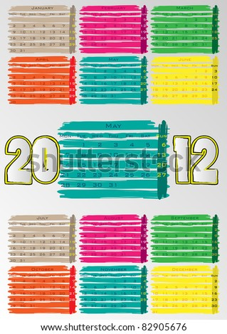 2012 A3 paint calendar for 12 months.May. - stock vector