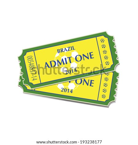 A pair of tickets for Brazil 2014 football. EPS10 vector format.  - stock vector