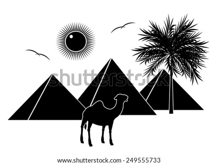 A silhouette three pyramids, a camel and the sun with birds - stock vector