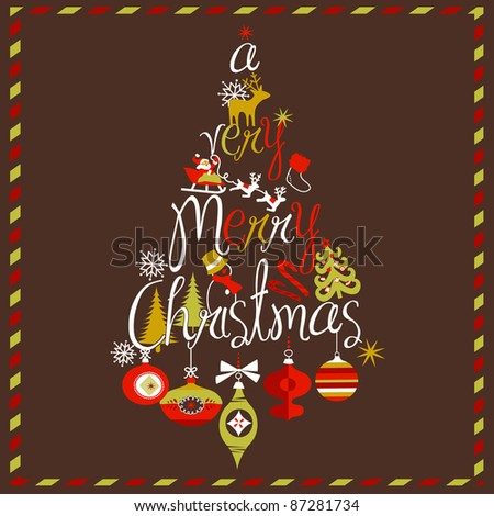 """A Very Merry Christmas"" tree design - stock vector"