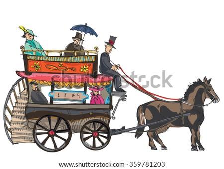 A vintage horse doubledecker bus -cartoon - stock vector