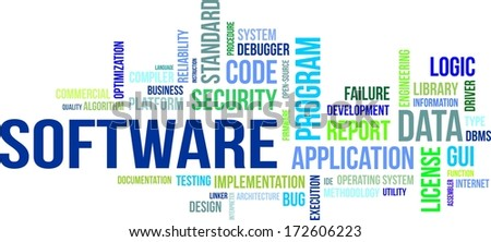 A word cloud of software related items - stock vector