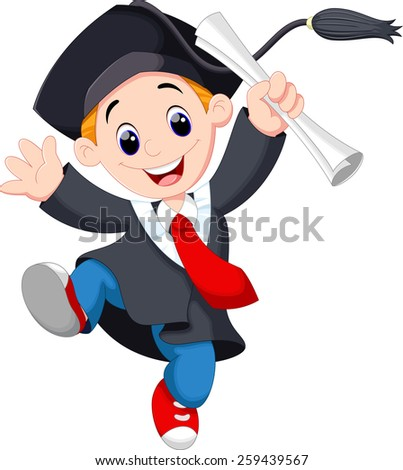 A young graduate man holding certificate jumping for joy - stock vector