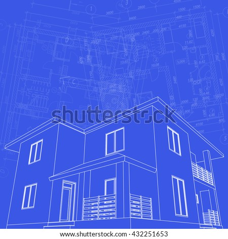 Abstract architectural background. Vector floor plan blueprint. 3D house model. - stock vector