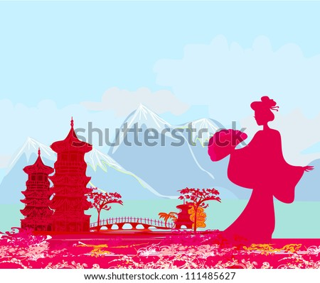 abstract Asian Landscape and beautiful Asian girl - stock vector