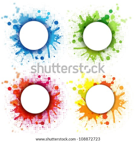 4 Abstract Bubble With Blobs Set, Isolated On White Background, Vector Illustration - stock vector