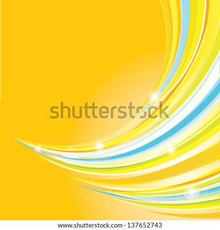 Abstract color wave striped background. vector abstract wave design template can be used for summer background / poster / layout / cover or website design - stock vector