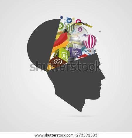 Abstract creative open head. Genius mind. Vector - stock vector