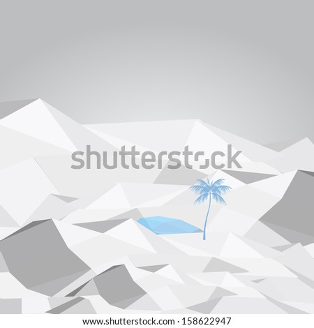 Abstract Desert Oasis with Palm Tree and Water - Vector Illustration - stock vector