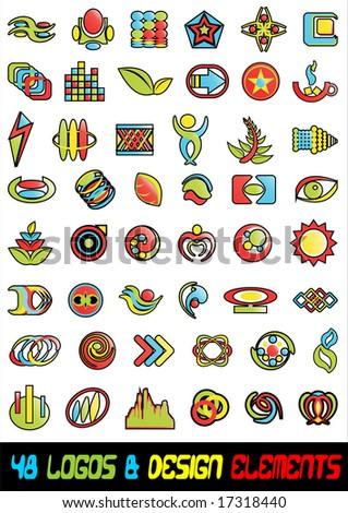 48 Abstract logos icons & design elelments vector - stock vector