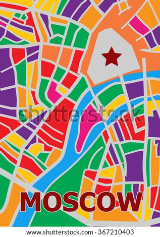 Abstract map of center  Moscow City. Vector illustration - stock vector