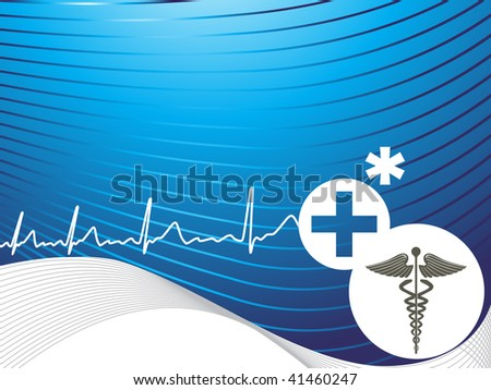 abstract medical striped line, wave background with heart beat illustration - stock vector