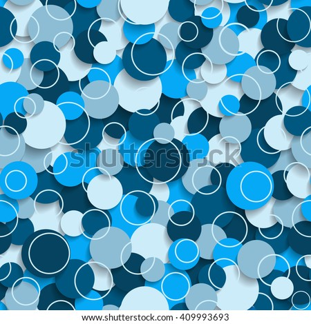 Abstract seamless pattern with colored circles and soft shadow.  3d illustration. Vector eps10 pattern suitable for fabric, wallpaper, web. - stock vector