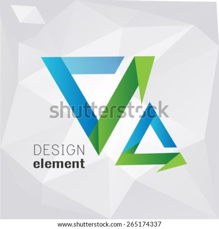 Abstract triangle logo design template on polygon background - stock vector