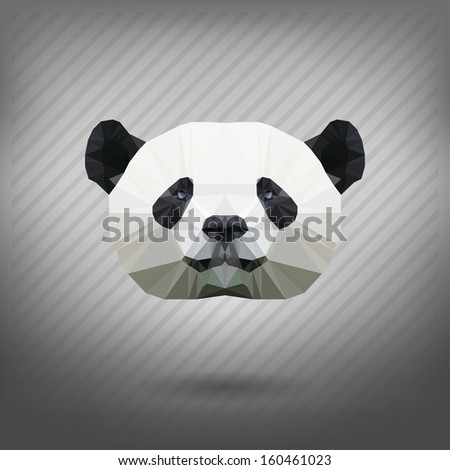 abstract triangle polygonal panda  - stock vector