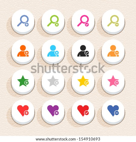 16 addition sign icon set 07 (color on white). Circle button web internet shape with shadow on beige paper background plastic texture. Simple flat style. Vector illustration design element in 10 eps - stock vector