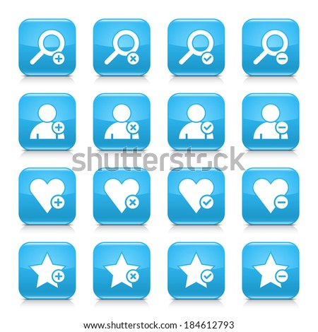 16 additional icon set 07. White sign on blue rounded square button with gray reflection, black shadow on white background. Glossy style. Vector illustration web design element in 8 eps - stock vector