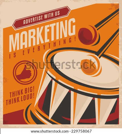 Advertising and marketing creative concept design. Retro vector poster template on old paper texture. Promotional ad design concept. - stock vector