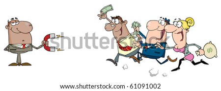 African American Businessman Using A Magnet Attracts People With Money - stock vector