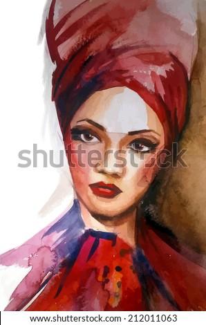 African american woman.Watercolor vector. - stock vector