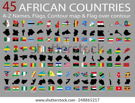 45 African countries, A-Z Names,Flags,Contour and national flag over contour - stock vector