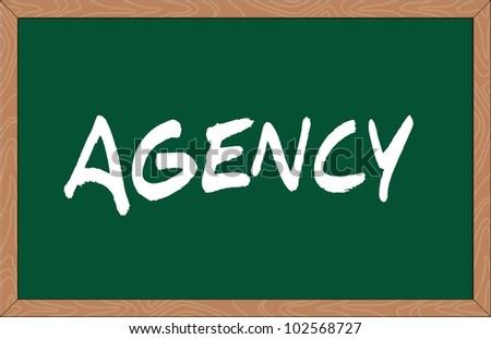 """""""agency"""" word written on chalkboard - stock vector"""