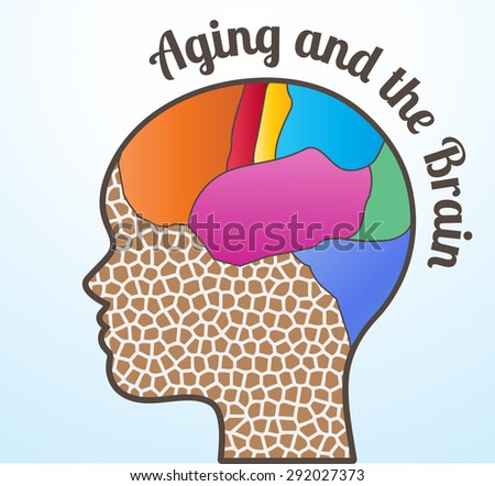 Aging and the brain woman profile  - stock vector
