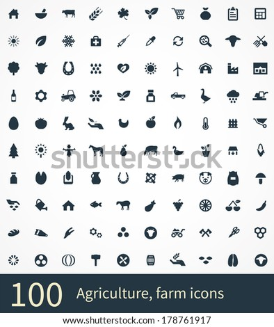 100 agriculture, farm icons - stock vector