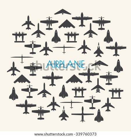airplane icons set and Background - stock vector