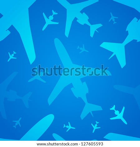 Airplanes seamless background. Vector illustration for your business artwork. - stock vector