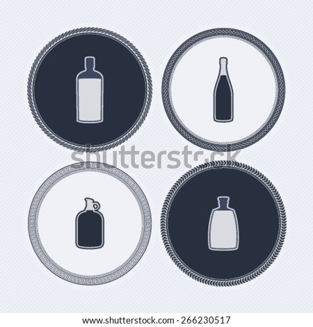 4 alcohol bottles icons shows off different bottles shapes like a vodka and a beer. Pictured here from left to right -  bourbon, champagne, wine, vodka.  - stock vector