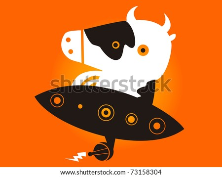 Alien cow leads his flying saucer - stock vector