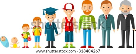 All age group of european people. Generations man.  Stages of development man - infancy, childhood, youth, maturity, old age.   - stock vector