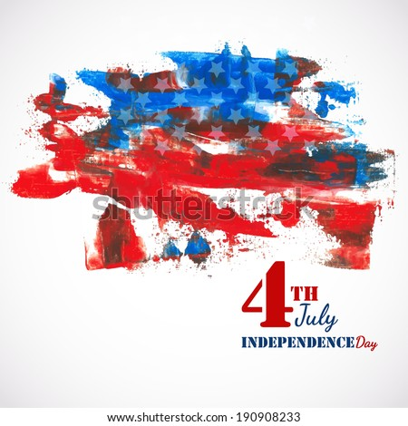 American Independence Day of 4th July  grungy flag color background. EPS 10. Can be used as banner, poster and flyer. - stock vector