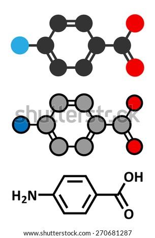 4-aminobenzoic acid (PABA, aminobenzoate) molecule. Stylized 2D renderings and conventional skeletal formula. - stock vector