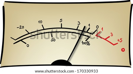 Analog measuring device with the needle in motion, Audio vu meter, simple vector sketch - stock vector
