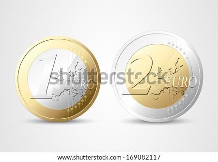 1 and 2 Euros - money concept - stock vector