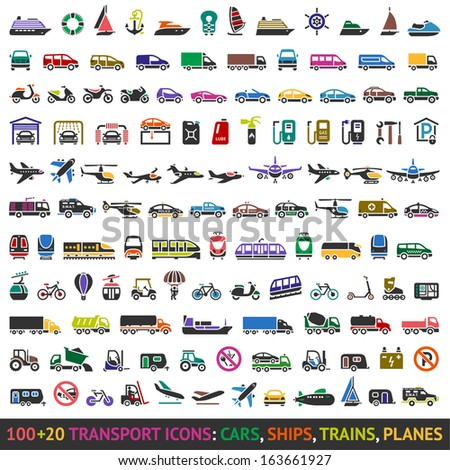 100 AND 20 Transport colored icons, vector illustrations - stock vector